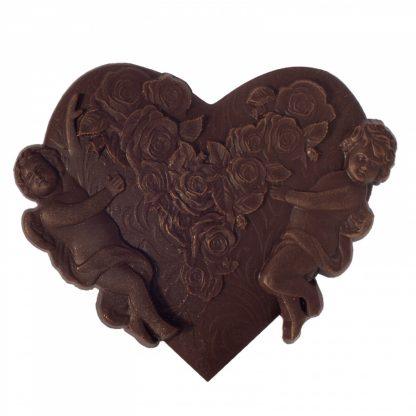 """Шоколад фигурный """"Барельеф Сердце с купидонами"""""""