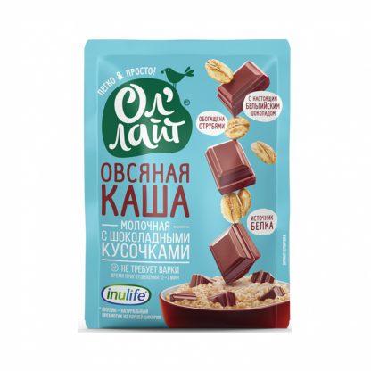 """Каша Ол'Лайт """"Овсяная молочная с шоколадными кусочками"""""""