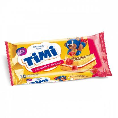 """Бисквитное пирожное Konti """"Timi с малиной и сливками"""""""