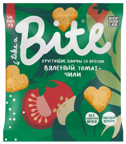 """Мультизлаковые фигурки Take a Bite """"Паффы со вкусом Вяленый томат-чили"""""""